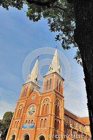 Saigon Catholic church under blue sky, VietNam