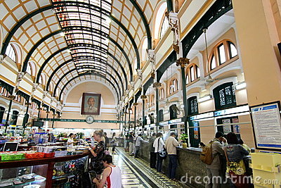 Saigon Central Post Office, Vietnam Editorial Image