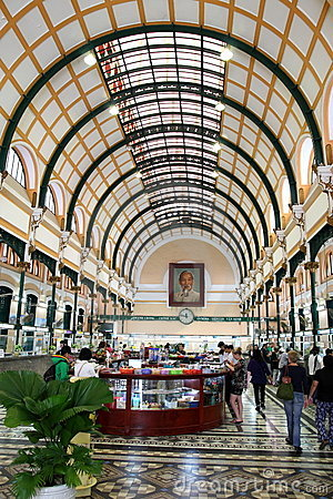 Saigon Central Post Office, Vietnam Editorial Stock Photo