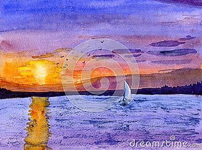 Sail boat at dusk