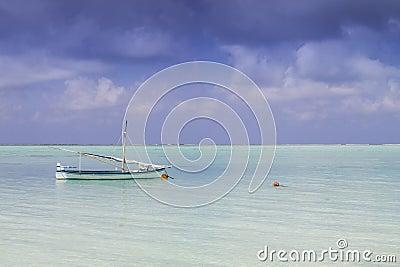 Sail boat and island