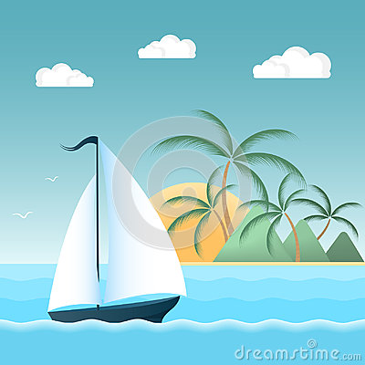 Free Sail Boat On The Waves. Tropical Island With Palm Trees And Mountains. Summer Holiday Concept. Stock Images - 97091394