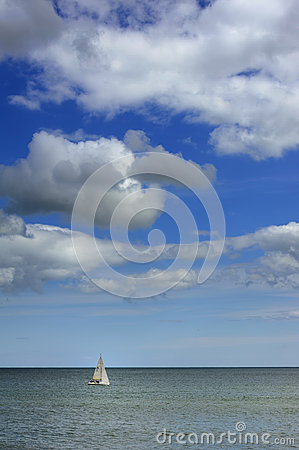 Sail boat out in the ocean