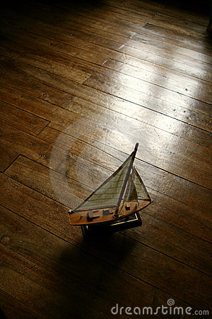 Sail boat in the parquet floor