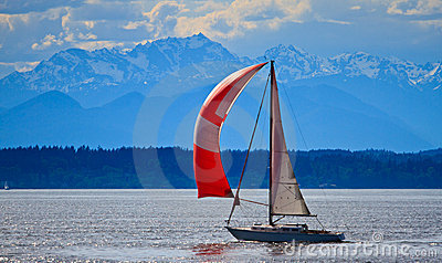 Sail boat on Puget Sound, Pacific Northwest