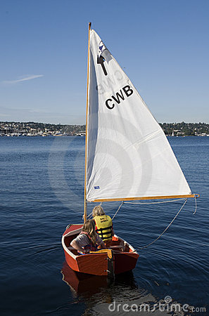 Sail boat on Union Lake Editorial Stock Photo