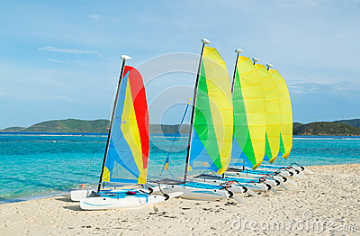 Sail Boats on Tropical Beach