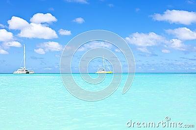 Sail yachts in a blue caribean sea