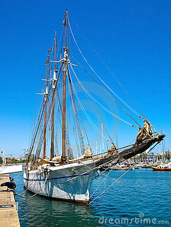 Sailboat anchored at Barcelona
