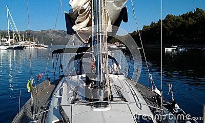 Sailboat anchored at a bay