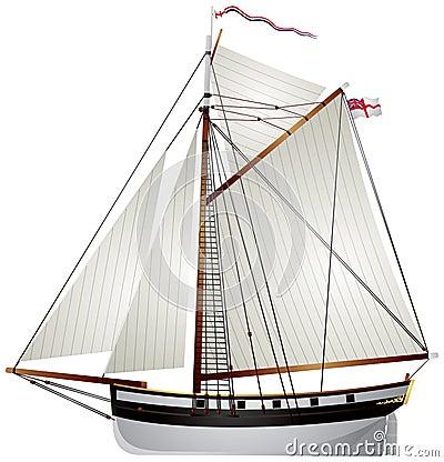 Sailboat ancient yacht