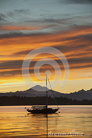 Free Sailboat And Mt. Baker Stock Photography - 30543332