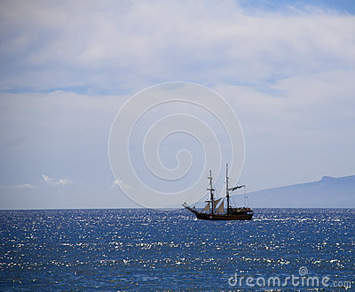 Sailboat on the atlantic ocean