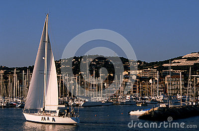 Sailboat in Bandol marina - France