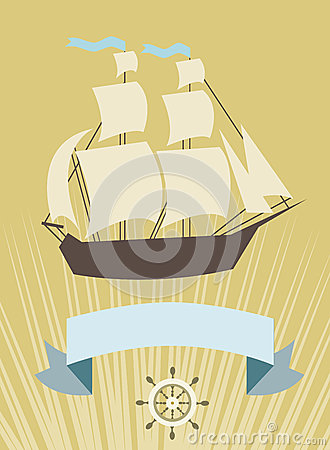 Sailboat with banner for your message