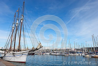 Sailboat in Barcelona harbor.