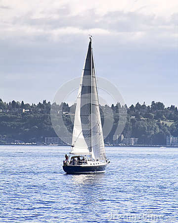 Sailboat on the bay Editorial Stock Image
