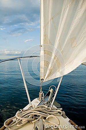 Sailboat in blue lake/seas