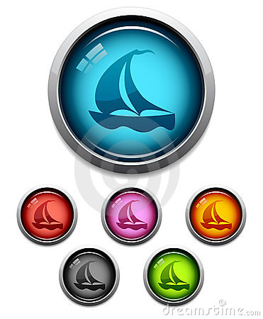 Sailboat button icon