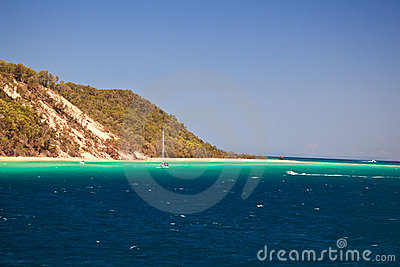 Sailboat on coast of Moreton Island Australia