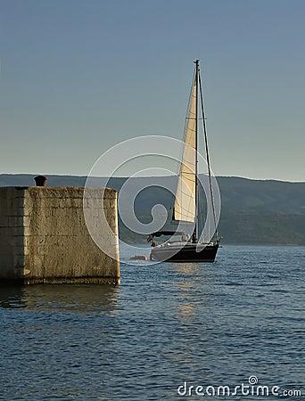 Sailboat and dock