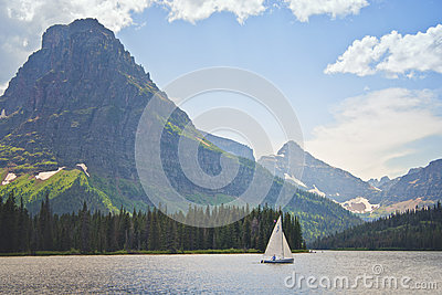 Sailboat, Glacier National Park, Montana Editorial Stock Photo
