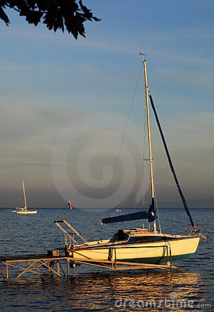Sailboat on landing-stage