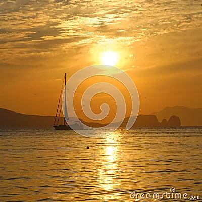 Free Sailboat On Bay At Sunset Stock Photos - 34482843