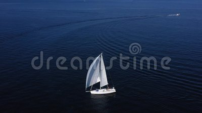 Sailboat sails in the Mediterranean Sea stock footage