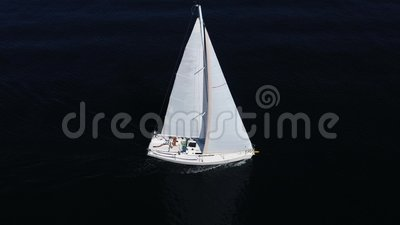 Sailboat sails in the Mediterranean Sea stock video