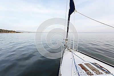 Sailboat and San Pablo Bay at sunrise