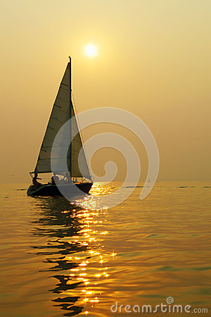 Sailboat in the setting sun