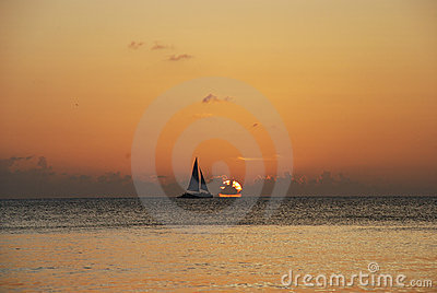 Sailboat in sunset - Cayman