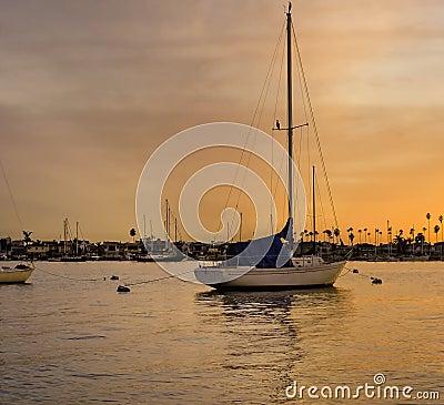 Sailboat at Sunset, Newport Bay, California