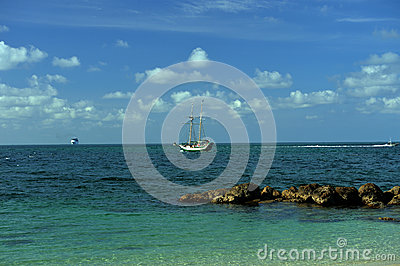 Sailboat at tropical waters of Key west