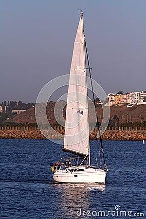 Sailboat under power
