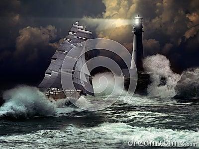 Sailboat under storm