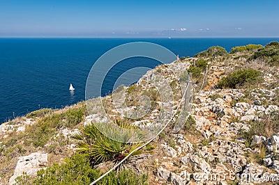 Sailboat and views of Javea sea from San Antonio Cape