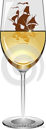 Sailboat in a wineglass