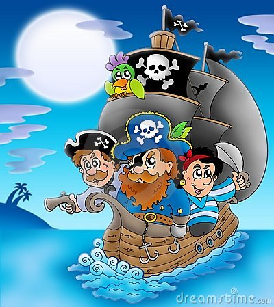 Free Sailboat With Cartoon Pirates At Night Stock Photography - 13275292