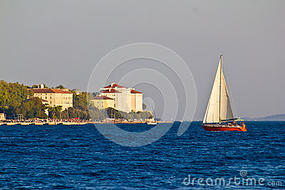Sailboat and Zadar waterfront, Dalmatia