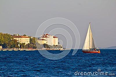 Sailboat and Zadar waterfront, Dalmatia