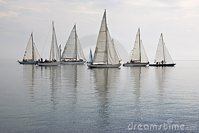Sailboats in calm water
