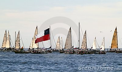 Sailboats and chilean flag Editorial Stock Image