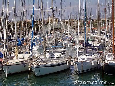 Sailboats at docks