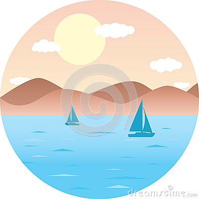 Sailboats floating in the sea. Mountain Beach, sun. Round flat vector illustration summer landscape Vector Illustration