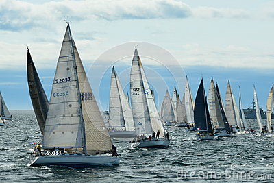 Sailboats getting ready for the start of the race. Editorial Stock Photo