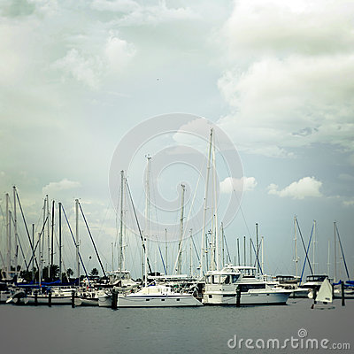 Sailboats in Harbor on Cloudy Day