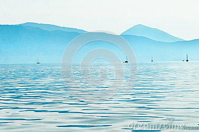 Sailboats in Ionian sea
