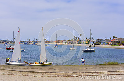 Sailboats, Mission Bay, San Diego, California Editorial Stock Image